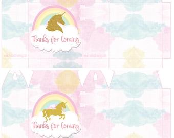 Unicorn Editable Printable Box Template - High Quality Printable INSTANT DOWNLOAD - Girls birthday party unicorn printable favor box