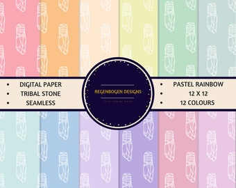 12 Pastel Rainbow Tribal Seamless Digital Paper Download, 12x12 inches