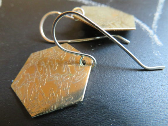 Innuendo - etched brass hexagon earrings on sterling wires - OOAK - ready to ship