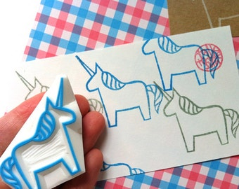 unicorn rubber stamp | dala horse | fairytale birthday card making | diy gift wrapping | kids holiday crafts | hand carved by talktothesun
