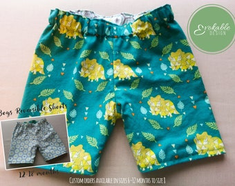Boys Reversible Shorts 12-18 Months Dinosaurs and Hexagons