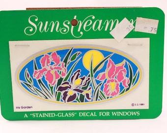 The Original! Fade Proof 1981 Illuminations Luminous Decal for Windows. 1 Sheet on Card. Iris Garden