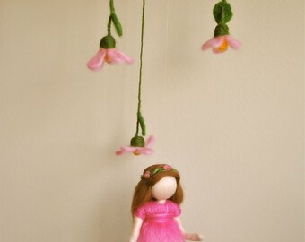 Waldorf inspired needle felted doll mobile:  Spring Pink  Flower Fairy