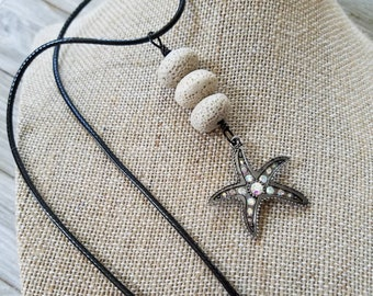 Starfish pendant, Lava rock, Essential oil diffuser necklace, Personal Diffuser jewelry, Aromatherapy jewelry.