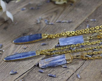 Petite Blue Kyanite Necklace Gift Raw Crystal Healing Crystals and Stones Crystal Necklace Stone Necklace Gold Dipped Kyanite Crystal