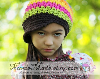 Stripe Cotton Hat with Brim 2T-4T, Rainbow Newsboy Hat, Crochet Newsboy, Stripe Hat, Kids Hat, Childrens Hat, Newsboy Winter Hat, Girls Hat