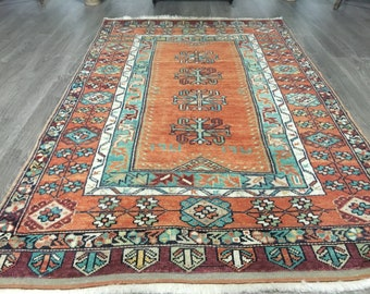 Boho Style Turkish Oushak Rug  /  3'10'' x 6'1'' ft  / 1.16 x 1.85 mt