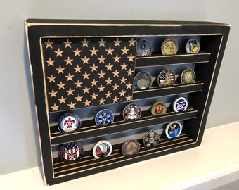"12"" x 15"" Rustic Distressed Military Challenge Coin Display Case Holder US Flag Retirement Gift Army Navy Air Force Marines Coast Guard"