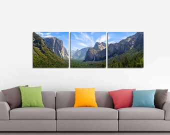 LIMITED EDITION - Yosemite Valley - 3 Panels Art Canvas Print - Home Decor interior