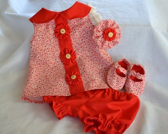 red dress summer red dress little girls red dress red dress with soft shoes