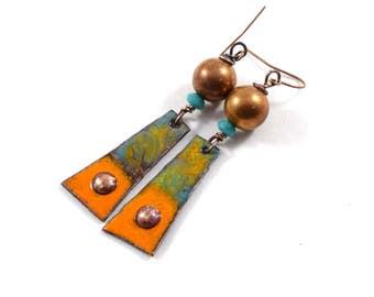 Handmade Orange Copper Turquoise Earrings, Enameled Earrings, Tribal Earrings, Artisan Earrings, Industrial Earrings, Copper Earrings, AE187