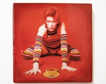 "David Bowie / Ziggy Stardust with yellow tea cup, handmade 8""x8"" wooden wall art"