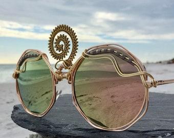 THiRD EyE Sunglasses, Rose Gold Oversized Round Sunglasses, Spunglasses, Festival, Boho, Bohemian, Hippie, Burning Man, One of a Kind NEW