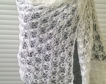 Knit stole, knitted stole, hand knit scarf, white women's shawl, wrap, gift for her, gift for mother