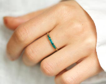 Wrapped Raw Dark Turquoise Blue Chrysocolla Wedding Band Ring. Chrysocolla Band Ring. Turquoise Blue Ring. Chrysocolla Wedding Band