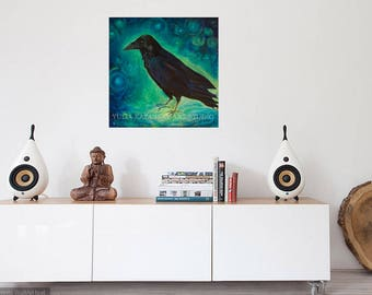 SALE!  STAR RAVEN large museum quality gallery wrap canvas art print Print of original acrylic painting Black Raven art print Surreal art
