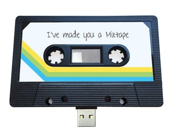 4GB/8GB/16GB USB Authentic Mixtape-Retro Personalized - Music Lovers, Valentines Day , Present, Boyfriend, Girlfriend, 90s, Flash Drive