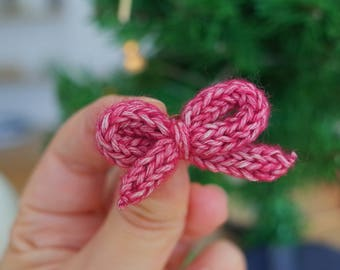 Wool bow Barrettes - sold by 2 - different colors - handmade