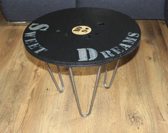 Coffee table or occasional round from a roll of industrial style hairpin legs