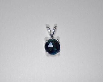 Round  Rose- cut  Blue Sapphire pendant