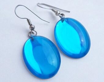 Vintage Ocean Blue Glass Earrings, Oval Silver Tone Pierced Dangle Bridal Wedding Earrings, Blue Earrings, Blue Jewelry, Gift For Her, 1980s