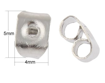 50/100 Pieces Stainless Steel Earring Tension Locking nuts 1mm Hole