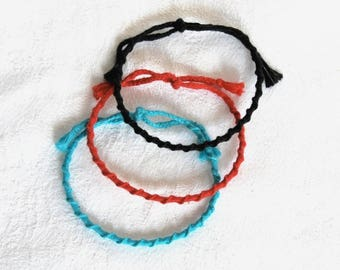 Friendship Bracelet spiral plain (choice of color) bracelet men women Brasilda hippie
