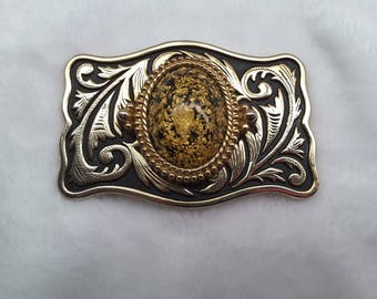 Western Belt Buckle with Gold Flakes
