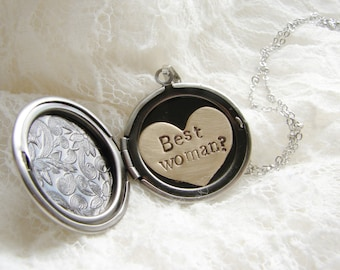 Custom wedding bridesmaid jewelry, Will You Be My Bridesmaid Gift, Be my Best Woman locket, Maid of Honor gift, Wedding Favor, Bridal Shower