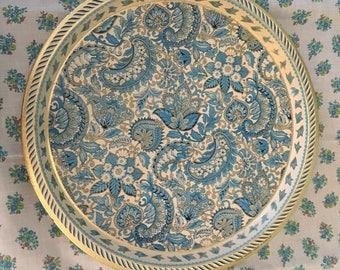 Vintage tin tray paisley blues golds round England