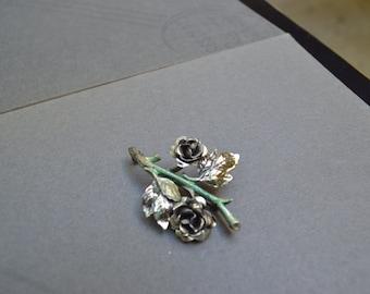 Vintage Sterling Silver Rose Pin