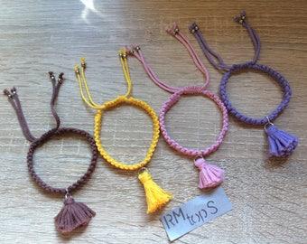 Macrame bracelet with tassel Pink Purple yellow brown macrame bracelet with tassel in pink purple yellow brown