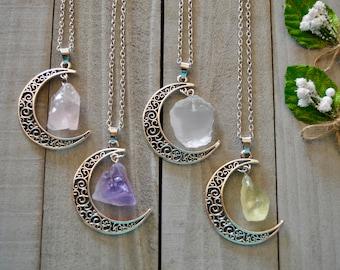 crystal crescent moon drops/Rose quartz/Amethyst/Clear quartz/Citrine