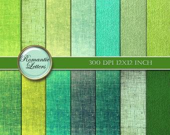 Green Linen digital paper pack digital scrapbooking linen texture printable paper pack digital scrapbook background paper linen texture