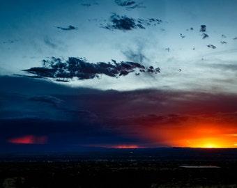 Albuquerque Sunset Landscape Photograph Print 8x12 (and larger) Fine Art Photo Print, New Mexico High Desert Wall Art