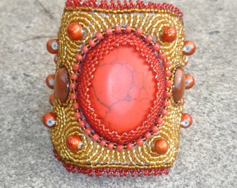 Red Beauty-Elegant Elements Cuff Collection (FREE MATCHING EARRINGS)