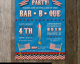 Printable 4th of July Patriotic Party Invitation-Digital Custom Invitation with flags, stars and fireworks