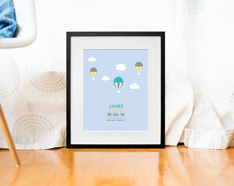Custom baby poster - Custom nursery print - Baby nursery decor - Baby wall decor - Nursery wall art - Birth poster - Hot air balloons