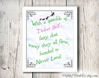 Peter Pan Print, Tinker Bell, Away They All Flew, Fairy Dust, Never Land Sign Disneyland, 8 X 10, Peter Pan Art, Peter Pan Decor,  DOWNLOAD