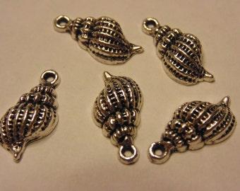 5 tibetan silver shell charms, 19 x 9 mm (1)