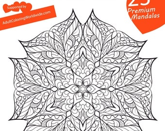 YOU COLOUR, Adult coloring e-book 23 design, flowers, mandalas, adult coloring pages and sheets, calm, stress relief, mental therapy