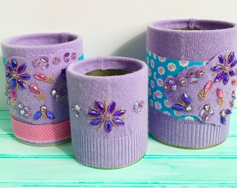 Pretty in Purple -- Set of 3 Upcycled Storage Tins