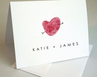 Custom Thumbprint Wedding Thank You Cards  - Couple's Note Cards - Couple's Stationery