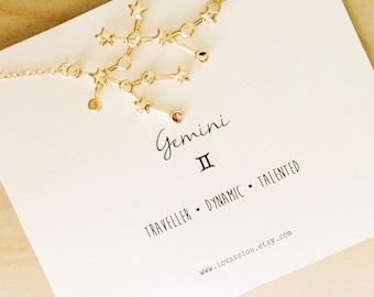 Gemini Necklace, gemini constellation necklace, gold Gemini necklace, constellation necklace, star sign necklace, star sign necklace, 14k