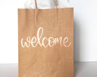 Welcome Gift Bag, Welcome Bag, Wedding Guest Gift, Embossed Gift Bag, Hand Lettered Gift Bag, Party Favor, Wedding Favor, Hotel Welcome Bag