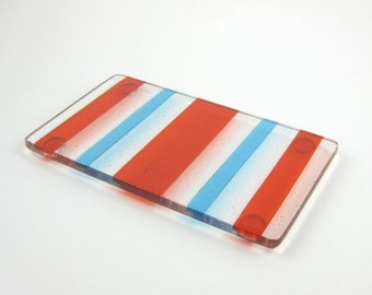 Orange and Blue Spoon Rest - Striped Fused Glass Spoon Rest - Orange and Blue Butter Dish - Glass Spoon Rest