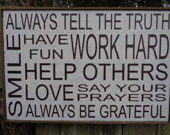 Always Tell the Truth Sign,36x24, House Decor, Family Wood Sign, Vintage Sign, Fixer Upper Sign, Family Wall Hanging
