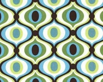 Michael Miller Feeling Groovy Bkg turquoise, vert et blanc 1 Yard