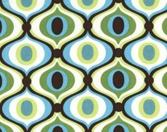 Michael Miller Feeling Groovy blaugrün, grün und weiß Bkg 1 Yard