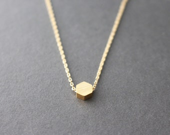 Hexagon necklace - Tiny Hexagon necklace - Gemetric necklace - gold